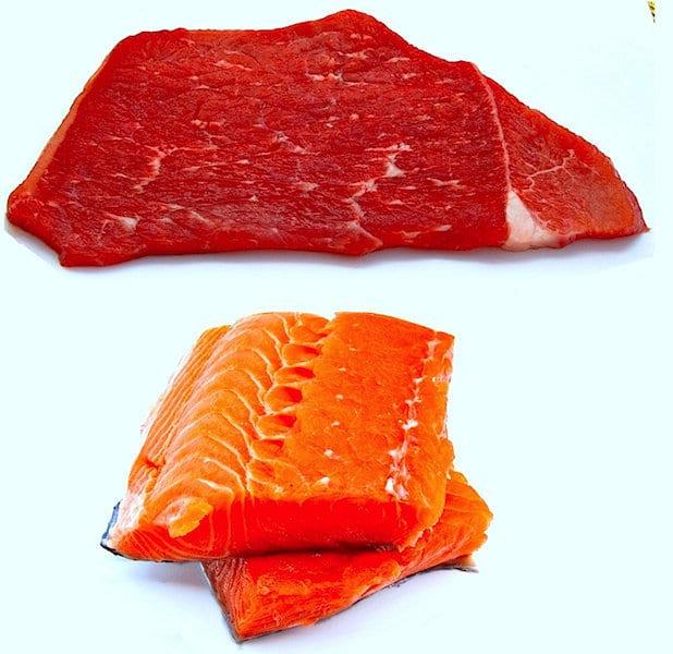 carne, peixe, alimento, gota