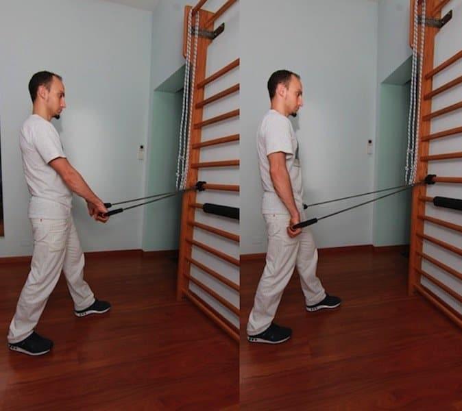 Exercícios,rombóide, reforço, escápula, equilíbrio, músculos, coluna