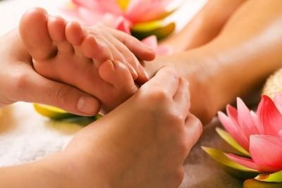 Massagem terapêutica, pé, perna, panturrilha