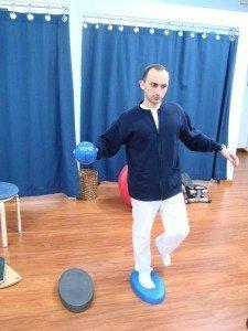 Equilibrio, músculos, movimiento, dolor, mal, balón, fisioterapia, rehabilitación