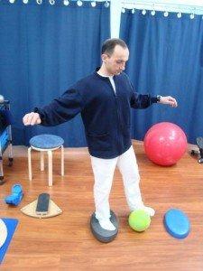 Propioceptiva, pie, refuerzo, equilibrio, peso, músculos, movimiento