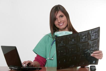 Radiografía, médico, controla, valora, espalda, radiólogo