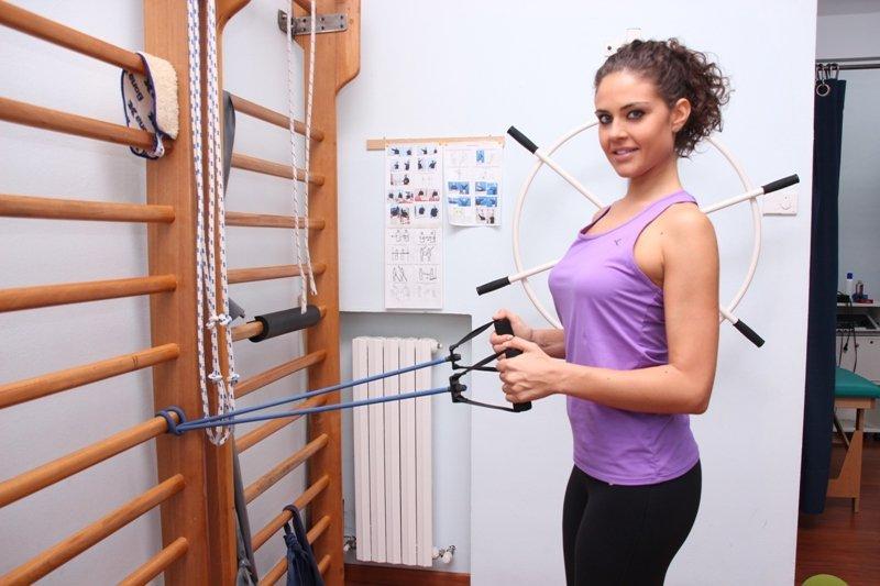 ejercicio, bandas elásticas, hombro, supraespinoso