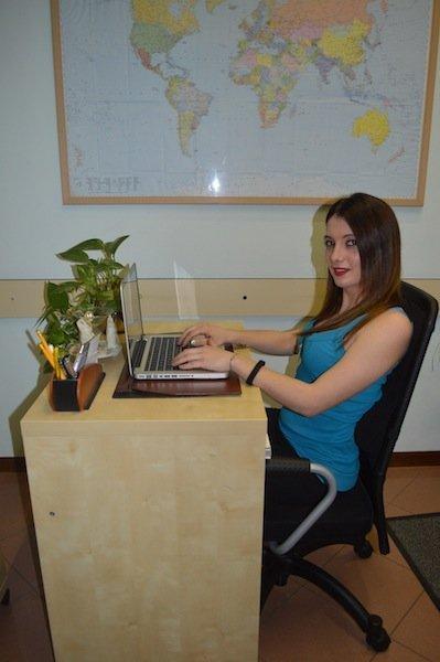 postura, sentados, ordenador, rollo, lumbar