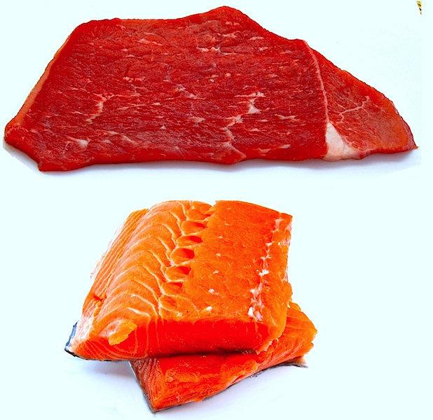 carne, pescado, alimentación, gota
