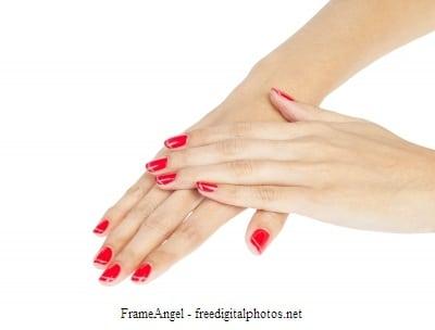 manos, uñas, esmalte, crema.