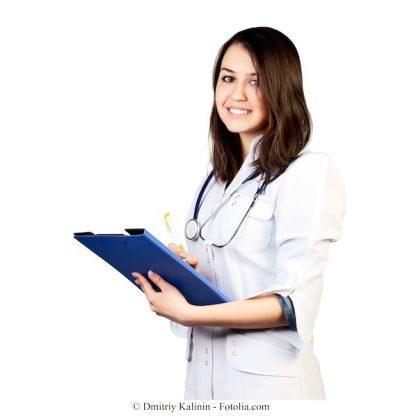 doctora, exámenes, sangre, hemograma