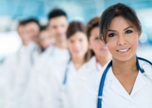 médicos, bata, blanca