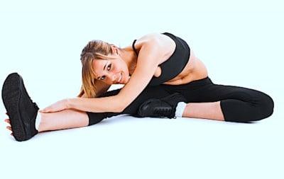 Estiramiento, flexores, rodilla, bíceps femoral, muslo, posterior