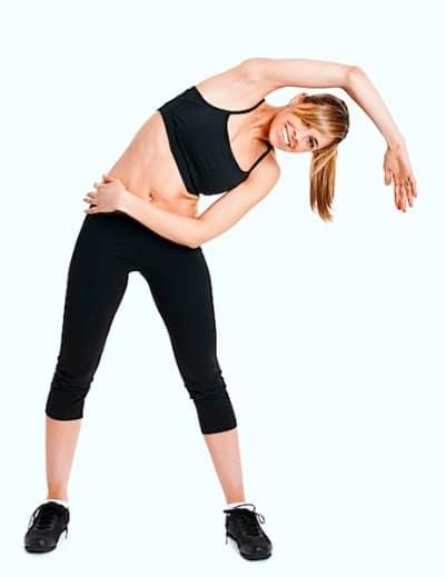 Estiramiento, inclinación, lateral, de pie, dolor lumbar