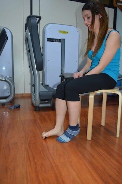 ejercicio, pies planos, levantamiento, objetos