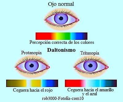 Daltonismo en los ojos