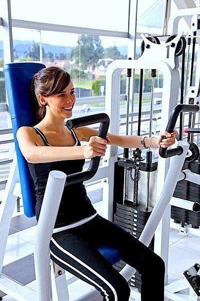 ácido láctico, ejercicios, gimnasio, chica, hermosa