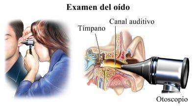 ostoscopio, examen, oído, diagnóstico