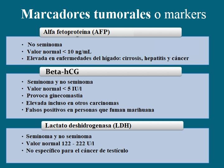 marcadores tumorales, markers, cáncer de testículo